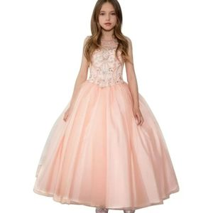 Blush pink peach girl's pageant dress gown 8 12